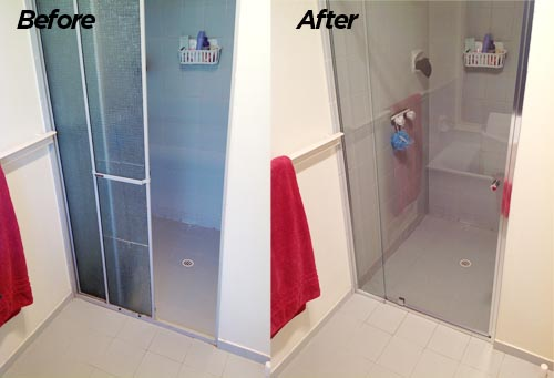 Shower screen replacement in Adelaide- before & after photos