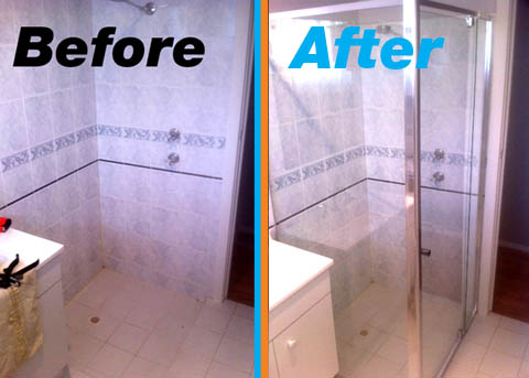 Instant Shower Screen - before & after